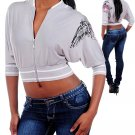Biker Chic Dolman Sleeve Tattoo Crop Jacket Fashion