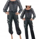 LAST ONE IN STOCK!! Si Style Black Biker Chic Off Shoulder StuddedSmocked Waist Cotton Jumpsuit