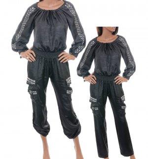 LAST ONE! Biker Chic Off Shoulder Studded Smocked Waist Cotton Jumpsuit Fashion