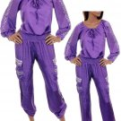 Si Style Purple Biker Chic Off Shoulder StuddedSmocked Waist Cotton Jumpsuit