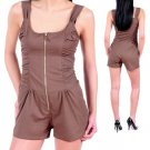 LAST ONE IN STOCK!!! Zip Up Ruched Sides Sexy Fit Romper Jumpsuit