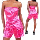 Satin Cargo Strapless Romper Fashion
