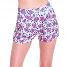 LVLX Pink Gray High Waist Vintage Look Floral Print PLeat Shorts