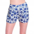 LVLX Blue Gray High Waist Vintage Look Floral Print PLeat Shorts