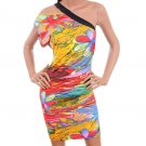LAST ONE IN STOCK!! One Shoulder Floral Stria Beach Club Dress Fashion