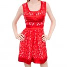 Una Core Red Vintage Feel Sleeveless Swing Dress