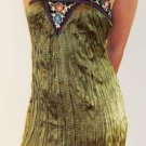 LAST ONE IN STOCK!! Magazine Olive Green Silk Southwestern Crinkle Embroidered Mini Dress