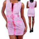 Runway Jackie O Style Pink Belted Sleeveless Striped Mini Dress