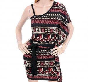 Poema Red Tan Black Aztec Mexican Print One Shoulder Tie Waist Knit Dress