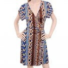 LAST ONE IN STOCK!! Co-me Como Brown Blue Tribal Tie Waist Wrap Jersey Dress