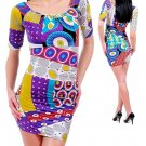 Funky Psychedelic Multi Color Retro Bold Print Sexy Club Jersey Dress