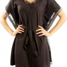 LAST ONE IN STOCK!!!  Black Silk Blend Butterfly Sleeve Lace Trim Tie Waist Dress