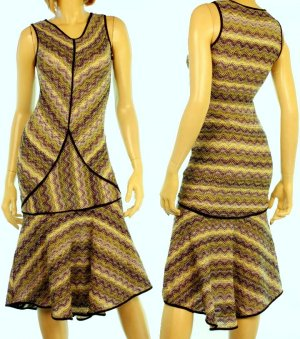 Joon Collection Unique Multi Color Knit Fishtail Hem Piped Sweater Dress (Deco Echo Trend)