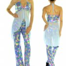 Studio F 2pc Blue Multi Funky Retro Keyhole Halter Flare Pant Outfit