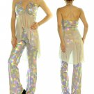 2pc Funky Retro Keyhole Halter Flare Pant Outfit Fashion