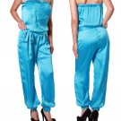 Hessi Blue Satin Strapless Embroidered Jumpsuit 1 pc Romper
