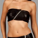 Biker Chic Bias Zip Bandeau Faux Leather Top (Ab Fab Spring Trend)