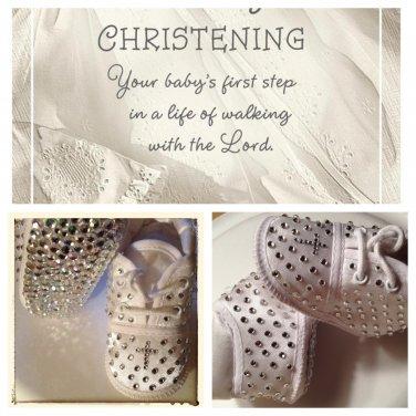 Star-Studded Size 0 Unisex Boy or Girl Infant Baptism Bling Crystal Cross Christening Shoe