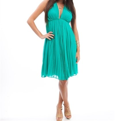 Star-Studded Inc Accordian Pleat Halter Open Back Cocktail Dress at Sears.com