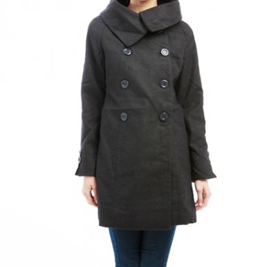 LAST ONE IN STOCK!!! Cowl Neck Wool Blend Double Breast Coat