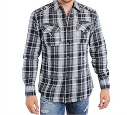 Men's Collared Button Down Plaid Flannel Dress Shirt