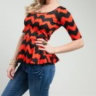 LAST ONE!! Chevron Zig Zag Peplum Top Blouse