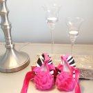 LAST ONE IN STOCK Star-Studded Size 0-6 MONTHS Girl Infant zebra Rose Ballerina Shoe