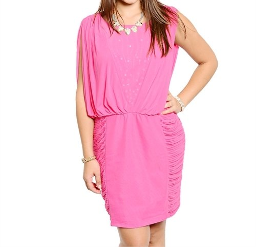 Plus Size Slit Sleeve Ruched Cocktail Dress