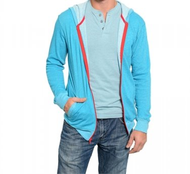 LAST ONE!! Men's Contrast Zip Up Hoodie Cardigan