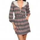 Geometric Print Crochet Collar Blouson Dress