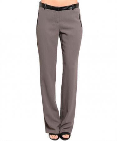 50% OFF!! Faux Leather Trim Straight Leg Dress Pant