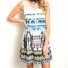 Hot Trend!! Sleeveless Building Print Zip Up A-Line Dress