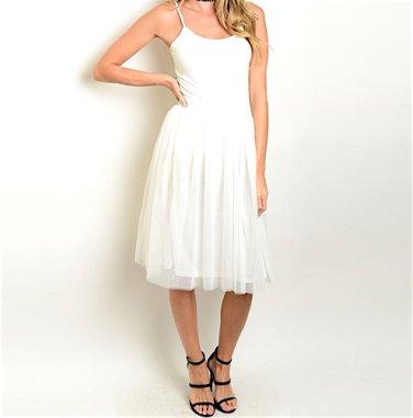 Banded Waist Tulle Midi Skirt