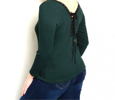 Plus Size Lace Up Back Ribbed Knit Top Sweater