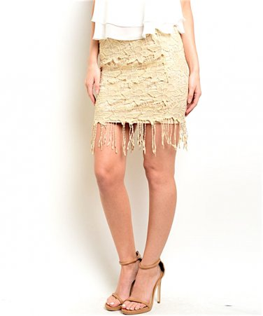 Lace Fringe Mini Pencil Skirt