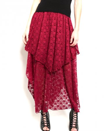 Lace Tiered Asymmetrical Long Skirt
