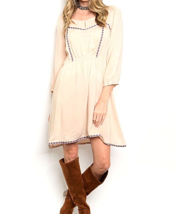 3/4 Sleeve Flare Boho Dress