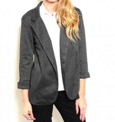 Open Front Speckled Business Blazer Jacket