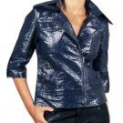 Tulle Anthropologie Blue Crushed Faux Patent Leather Biker Jacket Fashion