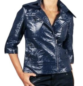 Tulle Anthropologie Blue Crushed Faux Patent Leather Biker Jacket