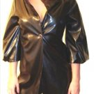 LAST ONE IN STOCK!!! Renee C Black Vintage Look Crop Sleeve Faux Patent Leather Trench Coat