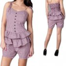 LAST ONE IN STOCK!! Plus Size Plaid Ruffle Waist Peplum Romper