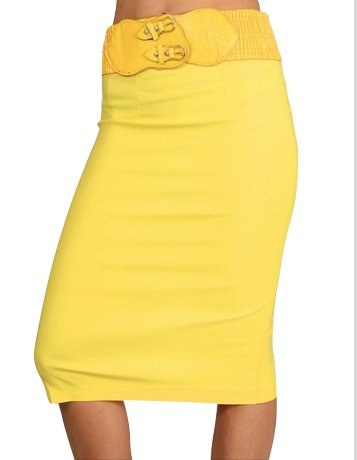 50% OFF!! Belted Pencil Stretch Skirt