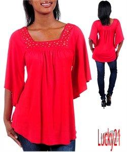 Red Flyaway sleeve top (sm)