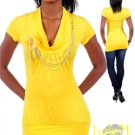 Yellow Fashion top with necklace (lrg)