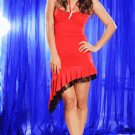 RED FITTED HALTER RHINESTONE BROOCH RUFFLE LACE HEM DRESS (MEDIUM)