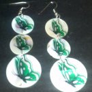 Butterfly shell dangle earrings
