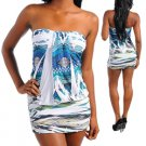 Blue White Sublimation Print Dress (large)