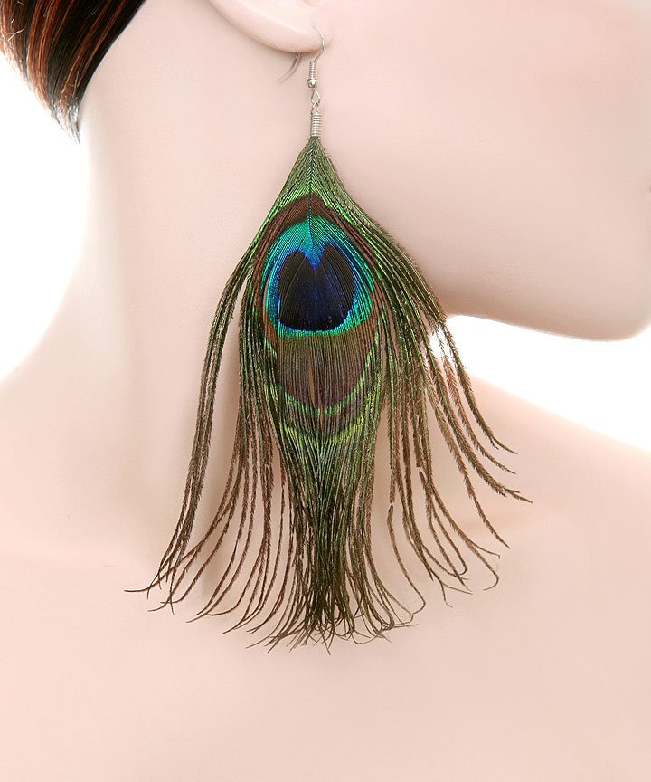 Peacock Fashion Feather Earrings