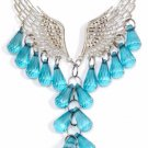Fashion Angel Wings Beaded Necklace & Earring Set (Teal)